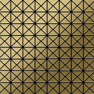 Mosaik Fliese massiv Metall Titan gebürstet in gold 1, 6mm stark ALLOY Deco-Ti-GB 0, 92 m2