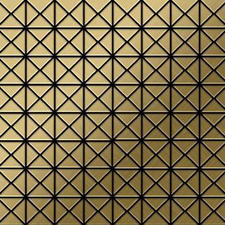 Mosaik Fliese massiv Metall Titan gebürstet in gold 1, 6mm stark ALLOY Deco-Ti-GB 1 m2
