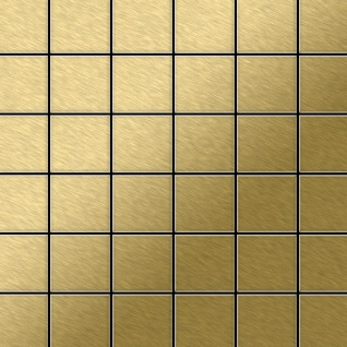 Mosaik Fliese massiv Metall Titan gebürstet in gold 1, 6mm stark ALLOY Cinquanta-Ti-GB 0, 94 m2