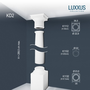 Vollsäule Komplett Set Orac Decor Luxxus KD2 Stuck Säule weiß antike Rund form klassisch leicht zu kürzen   2, 88 Meter