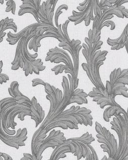 Barock Tapete EDEM 1032-10 Vinyltapete glatt mit Ornamenten und Metallic Effekt weiß silber 5, 33 m2