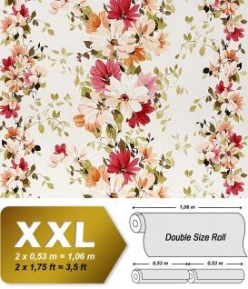 Blumen Tapete Vliestapete Landhaus Tapete EDEM 907-06 XXL Floral hochwertige Textiloptik Weiß rot orange grün 10, 65 qm