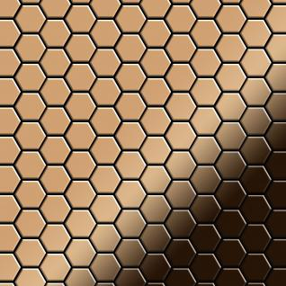 Mosaik Fliese massiv Metall Titan hochglänzend in kupfer 1, 6mm stark ALLOY Honey-Ti-AM 0, 92 m2