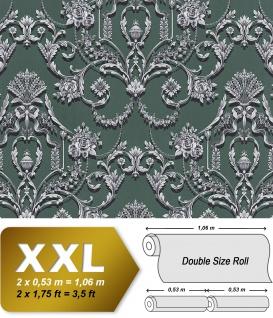 Barock Tapete EDEM 81201BR48 heißgeprägte Vliestapete mit Ornamenten und metallischen Akzenten grün perl-opal-grün blau-grün silber 10, 65 m2
