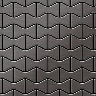 Mosaik Fliese massiv Metall Titan gebürstet in dunkelgrau 1, 6mm stark ALLOY Kismet-Ti-SB Designed by Karim Rashid 0, 86 m2