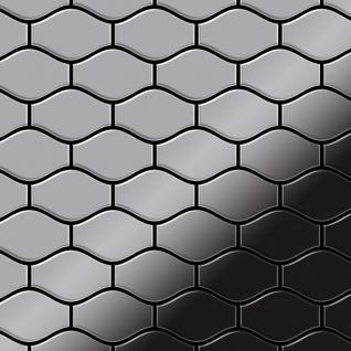 Mosaik Fliese massiv Metall Edelstahl hochglänzend in grau 1, 6mm stark ALLOY Karma-S-S-M Designed by Karim Rashid 0, 86 m2