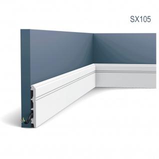 Stuck Sockelleiste Orac Decor SX105 LUXXUS Fußleiste Zier Profil Kabelschutz Leiste Bodenleiste stoßfest | 2 Meter