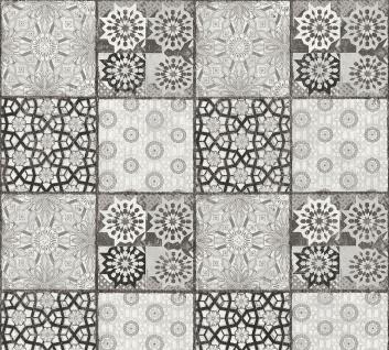 Stein Kacheln Tapete Profhome 368954-GU Vliestapete glatt im Ethno-Stil matt grau schwarz weiß 5, 33 m2