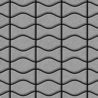 Mosaik Fliese massiv Metall Edelstahl marine gebürstet in grau 1, 6mm stark ALLOY Kismet & Karma-S-S-MB Designed by Karim Rashid 0, 86 m2
