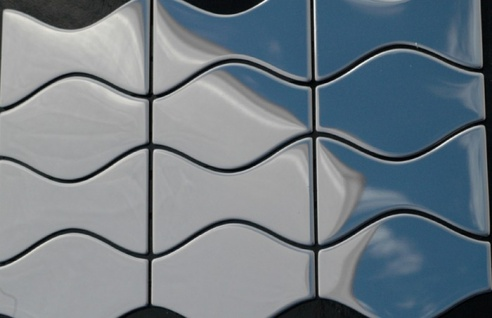 Mosaik Fliese massiv Metall Edelstahl hochglänzend in grau 1, 6mm stark ALLOY Kismet & Karma-S-S-M Designed by Karim Rashid 0, 86 m2 - Vorschau 4