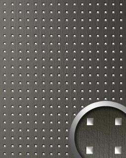 Wandpaneel Quadrat Dekor Design WallFace 12557 3D QUAD Wandplatte selbstklebend grau silber 2, 60 qm