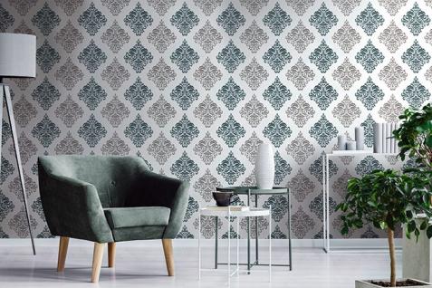 Barock Tapete EDEM 85024BR25 Vinyltapete glatt mit Ornamenten und metallischen Akzenten weiß türkis perl-enzian silber 5, 33 m2 - Vorschau 4