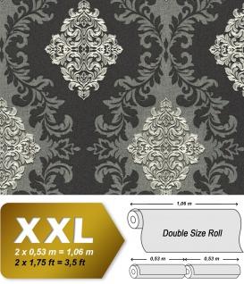 3D Barock Tapete EDEM 9123-29 heißgeprägte Vliestapete geprägt mit Ornamenten und metallischen Akzenten anthrazit grau silber 10, 65 m2