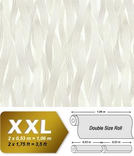 Streifen Tapete EDEM 81130BR20 Vliestapete strukturiert Ton-in-Ton und metallischen Akzenten creme weiß silber 10, 65 m2