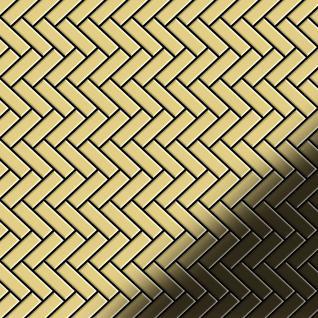 Mosaik Fliese massiv Metall Messing gewalzt in gold 1, 6mm stark ALLOY Herringbone-BM 0, 94 m2