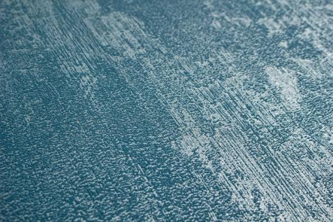 Uni Tapete Atlas TEM-5112-8 Vliestapete strukturiert in Spachteloptik und Metallic Effekt blau silber azur-blau pastell-blau 7, 035 m2 - Vorschau 2
