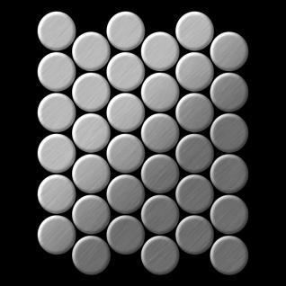 Mosaik Fliese massiv Metall Edelstahl gebürstet in grau 1, 6mm stark ALLOY Dome-S-S-B 0, 73 m2 - Vorschau 3