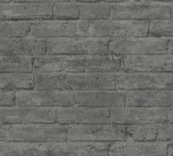 Stein Kacheln Tapete Profhome 377476-GU Vliestapete glatt in Steinoptik matt grau anthrazit 5, 33 m2