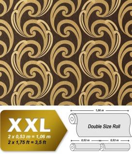 Grafik Vliestapete EDEM 915-36 XXL Präge-Tapete geschwungene Linien abstraktes Muster braun gold beige 10, 65 qm