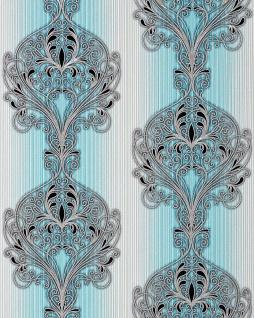 3D Barock Tapete EDEM 096-22 Tapete Damask prunkvolle Ornament-Designs türkis blau grau weiß silber schwarz   5, 33 qm