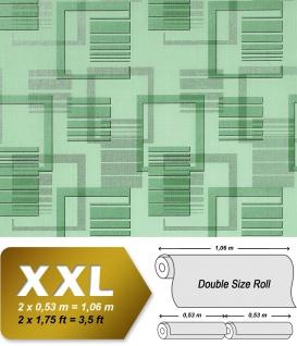 Grafische Muster Retro Tapete Vliestapete EDEM 609-95 Tapete XXL Design grafische 3D Muster retro abstrakt grün mint silber grau 10, 65 qm