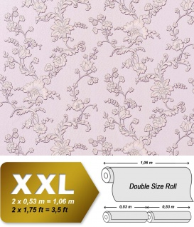Blumen Vliestapete Vlies EDEM 919-39 Landhaus Blumentapete XXL 3D Präge-Struktur Floral flieder rosa violett silber 10, 65 qm