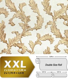 Blumen Tapete EDEM 9010-30 Vliestapete geprägt im Barock-Stil glänzend creme weiß gold hell-elfenbein 10, 65 m2