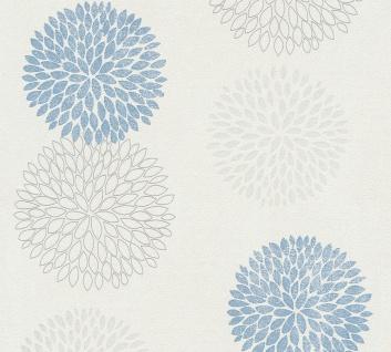 Blumen Tapete Profhome 372642-GU Vliestapete leicht strukturiert mit floralen Ornamenten matt blau grau weiß 5, 33 m2