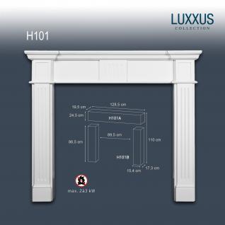 Dekokamin Orac Decor H101 LUXXUS Komplettset Dekorativer Kamin Stuck Wand Dekor als Set weiß weiß | 110 cm hoch