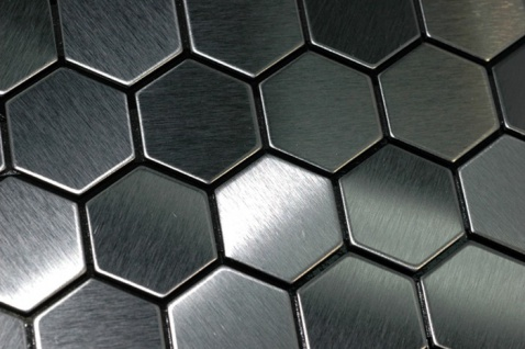 Mosaik Fliese massiv Metall Edelstahl gebürstet in grau 1, 6mm stark ALLOY Honey-S-S-B 0, 92 m2 - Vorschau 4