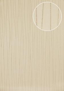 Streifen Tapete Atlas ICO-5077-2 Vliestapete glatt Design schimmernd creme hell-elfenbein weiß gold 7, 035 m2