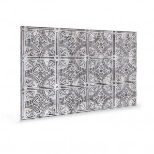 Wandpaneel 3D Profhome 3D 705216 Empire Crosshatch Silver Dekorpaneel geprägt im Vintage Look glänzend silber 1, 7 m2