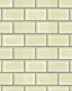 Grafik Tapete Profhome BA220103-DI heißgeprägte Vliestapete geprägt mit geometrischen Formen glänzend grün grau weiß 5, 33 m2