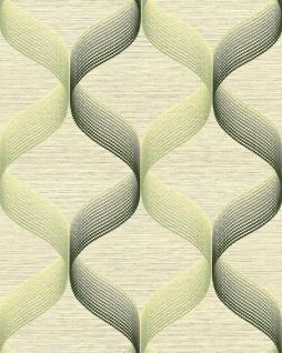 Retro Tapete EDEM 1034-15 Vinyltapete strukturiert mit grafischem Muster glitzernd grün weiß 5, 33 m2