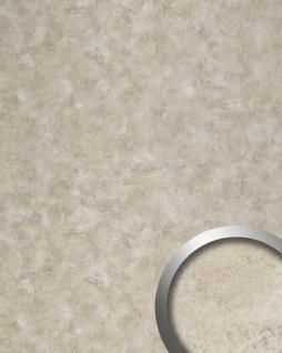 Wandpaneel Vintage Look WallFace 19209 IRON AGE Wandverkleidung glatt in Metall Optik glänzend selbstklebend abriebfest platin beige 2, 6 m2