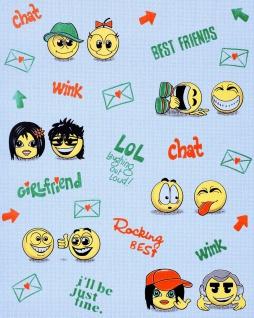 Kindertapete EDEM 037-22 Für echte Jungs Fun Manga Anime Smileys universelle Kinder-Jugend-Zimmer Tapete blau gelb grün