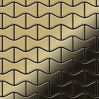 Mosaik Fliese massiv Metall Titan hochglänzend in gold 1, 6mm stark ALLOY Kismet-Ti-GM Designed by Karim Rashid 0, 86 m2