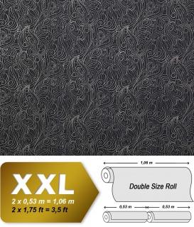 Barock Vliestapete EDEM 698-96 XXL Design Imperial Versailles Paisley Metallic-Muster anthrazit silber | 10, 65 qm