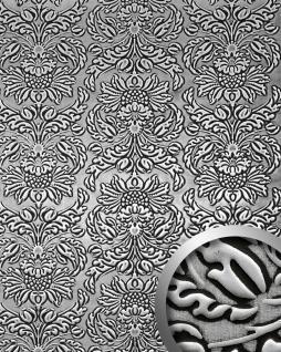 Wandpaneel Luxus 3D WallFace 14795 IMPERIAL Dekor Barock Damask Ornament selbstklebende Tapete schwarz silber | 2, 60 qm