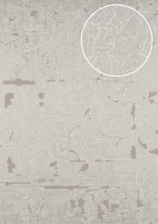Barock Tapete ATLAS CLA-599-2 Vliestapete geprägt mit Ornamenten glänzend silber grau-beige braun-beige perl-beige 5, 33 m2