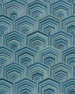 Ethno Tapete Profhome DE120047-DI heißgeprägte Vliestapete geprägt im Ethno-Stil glänzend türkis mint petrol 5, 33 m2