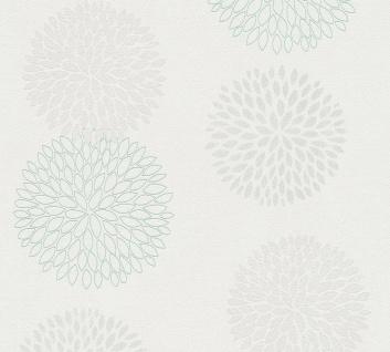 Blumen Tapete Profhome 372641-GU Vliestapete leicht strukturiert mit floralen Ornamenten matt grau grün weiß 5, 33 m2