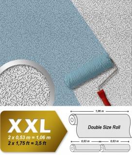Vliestapete zum Überstreichen EDEM 307-70 XXL dicke stabile streichbare Tapete rauhfaser-putz-muster weiß | 26, 50 qm