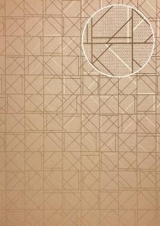 Grafik Tapete ATLAS XPL-591-3 Vliestapete strukturiert mit geometrischen Formen glänzend beige hell-braun braun-beige gold 5, 33 m2