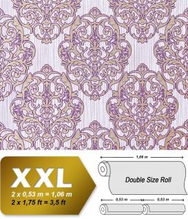 3D Barock Tapete XXL Vliestapete EDEM 648-92 Prunkvolles Damast-Muster lila violett flieder bronze dezente glitzer 10, 65 m2