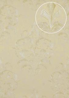 Barock Tapete Atlas ATT-5082-4 Luxus Vliestapete geprägt mit floralen Ornamenten glänzend elfenbein beige weiß 7, 035 m2