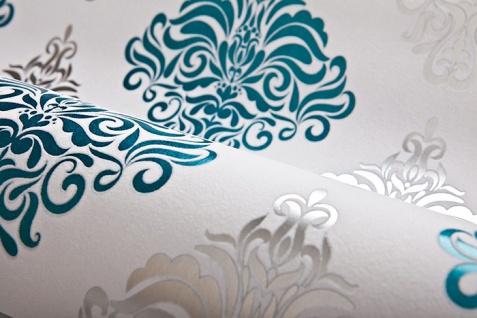 Barock Tapete EDEM 85024BR25 Vinyltapete glatt mit Ornamenten und metallischen Akzenten weiß türkis perl-enzian silber 5, 33 m2 - Vorschau 2