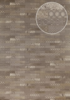 Ethno Tapete Atlas ICO-5075-2 Vliestapete glatt mit Kachelmuster schimmernd grau silber braun 7, 035 m2