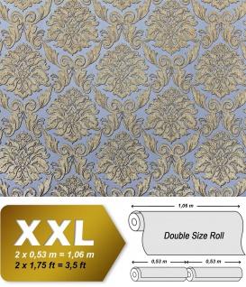 Barock Tapete EDEM 9014-37 Vliestapete geprägt mit Ornamenten glänzend blau grau bronze 10, 65 m2