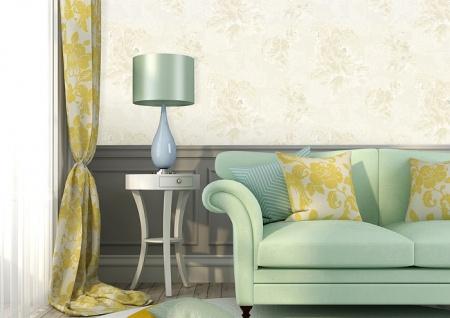 Blumen Tapete Atlas TEM-5109-1 Vliestapete strukturiert mit Paisley Muster schimmernd creme perl-weiß hell-elfenbein grau-beige 7, 035 m2 - Vorschau 4